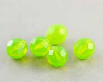 Green Glass Beads, 8mm Oval Beads, Czech Glass, Lime Green, Five