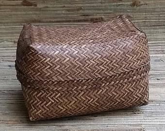 Rectangular Cane Basket With Lid Asian?