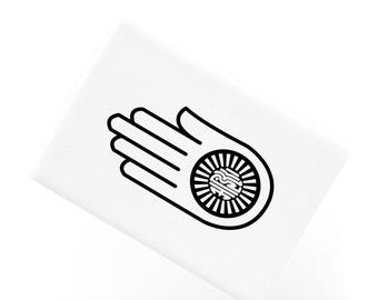 Ceramic Fridge Magnet, Ahimsa Hand Pattern Ahinsa Jainism Hinduism and Buddhism Principle, Funny Fridge Magnets, Refrigerator Magnet, FM134