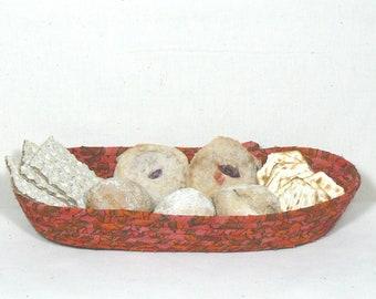 Coiled Fabric Basket, Clothesline Basket, Oval Bread Basket,  Farmhouse Basket, Washable Basket, Storage Basket, Kitchen Basket