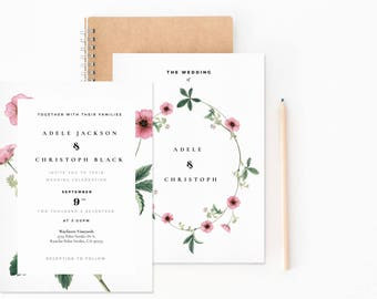 Pretty Pink Botanical Wedding Suite - Blush Pink Laurels // Wedding Invitation // Botanical wedding // Blushing Laura Suite