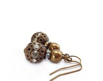 Bronze Filigree Earrings - Swarovski Pearls Rhinestones - Antiqued Victorian Style Earrings - Downton Abbey Earrings