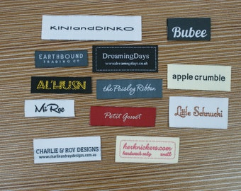 300X Custom Woven Text Only Taffeta Clothing Labels free font styles colors never fade professional quality free design service and shipping