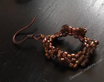 Bronze Drop Seed Bead Earrings by Denise's Creations