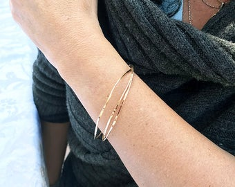 Fine Jewelry - 14K Gold Filled Organic Stacked Bangles - Handmade Jewelry - By Amallias - Made to Order