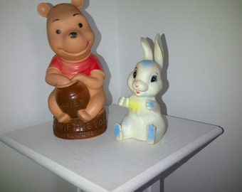 Vintage Squeak Toys Winnie the Pooh Viceroy and a Rabbit Taiwan