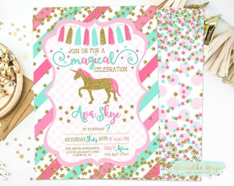 Unicorn Birthday Invite, Unicorn Birthday Invitation, Gold Glitter, Magical Party Invitation, Magical Celebration, Any Age, Printable Invite