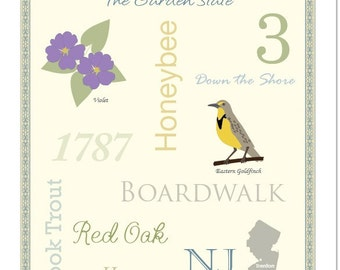 """New Jersey State Pride Series 11x14"""" Poster"""