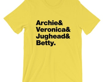 Archie Comics T-Shirt. Archie Comics Riverdale  Archie Veronica Jughead and Betty Shirt On Yellow, Black, White, Gray or Red Soft Cotton Tee