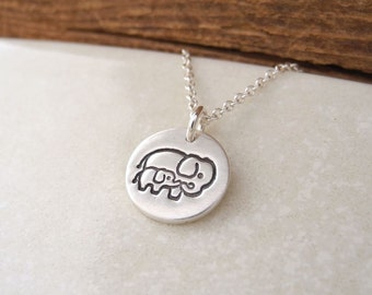 Tiny Mother and Baby Elephant Necklace, New Mom Necklace, Fine Silver, Sterling Silver Chain, Made To Order
