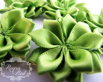 Bright Lime Green Satin Ribbon Fabric Flowers, 5 pcs, 38mm size,  ribbon flower, hair clip embellishment - reynaredsupplies