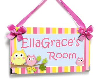 owls nursery door sign baby girl bedroom decor - baby name door signs - P635