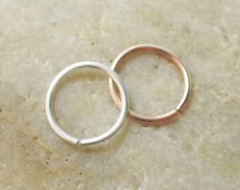 Set of Two 18 Gauge Nose Rings, 14K Rose Gold Filled, Argentium Silver, 2 Nose Hoops, Cartilage Hoop Earring, 7mm 8mm 9mm 10mm 11mm 12mm