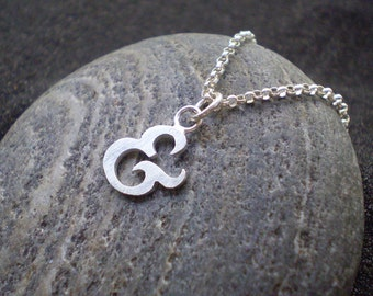 sterling silver ampersand pendant - typography jewellery