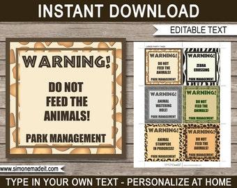 Safari Theme Printable Tags - Birthday Party Decorations - Zoo Theme - Jungle Theme - Animal Theme - INSTANT DOWNLOAD with EDITABLE text