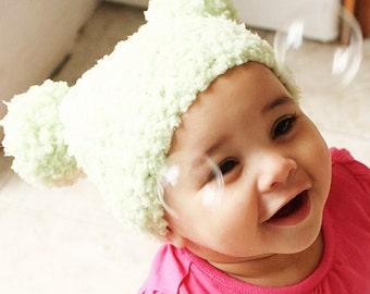 3 to 6m Green Pom Pom Hat Baby Beanie - Crochet Baby Hat Lime Green Baby Girl Boy Unisex Pom Pom Beanie Photo Prop  Labor Day