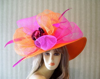 OraNge and Hot PiNk Hat, Garden ParTy Hat, Church Hat, Wide Brim Hat, Horse Rascing Hat, Bridal Hat, Wedding Hat, Downton Abbey Hat, Big Bow