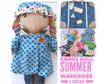 Mini Cloth Doll  'Emmie' with Clothes, Accessories and Travel Suitcase PDF Sewing Pattern and Tutorial