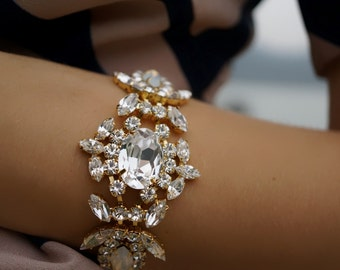 ULTIMATE SALE Marylin - Milky Opal and Crystal Clear Swarovski CrystalsWedding Bracelet, Statement Bracelet - Ready to Ship