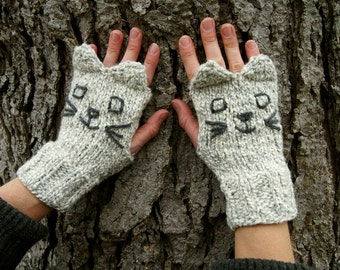 Knit Grey Cat Fingerless Gloves - Grey and White Knitted Cat Gloves - Vegan Fingerless Gloves with Cute Grey Cat Ears - The Kitty Collection