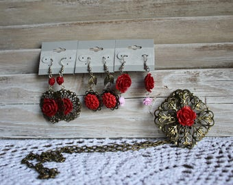 Handmade. Rose/red/pink/vintage style bronze jewelry set. Three pairs of earrings. and a matching necklace. Floral/roses.