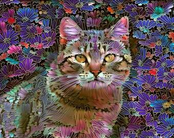Tabby Cat Art, Tabby Cat Gift, Cat Artwork, Cat Art Print, Cat Mom Gift, Colorful Print, Cat Wall Decor, Cat Wall Art