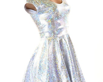 Silver & White Shattered Glass Holographic Scoop Neck Cap Sleeve Fit and Flare Skater Skate Dress 151260
