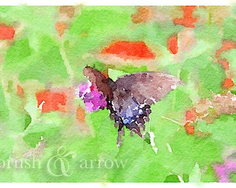 Butterfly print, watercolor style image, instant digital download