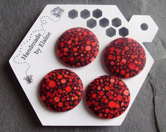 Fabric Covered Buttons - 4 x 28mm Buttons, Handmade Button, Tonal Pebble Buttons, Scarlet Red Buttons, Coral Red, Lacquer Red, Speckled,2769
