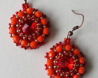 Red gold beadwoven earrings