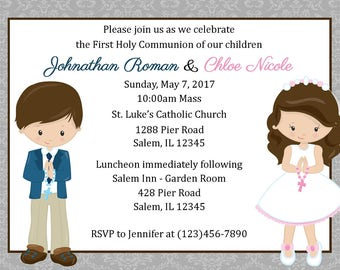 Twins First Communion Invitation  (Digital File) / First Communion Invitation for twins / Communion invitation for cousins