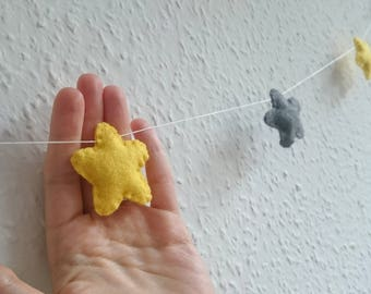 Felt star garland in grey and yellow colors - short bunting - nursery idea decor Baby shower - Banner - wedding decor
