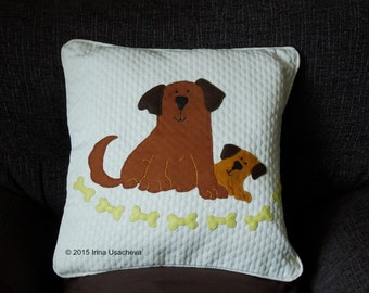 """Dog pillow, cushion cover, handmade, applique """"Dog and Puppy"""""""