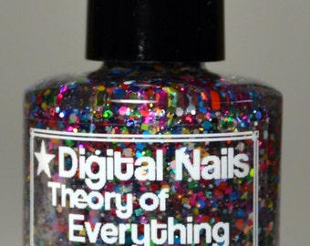 Theory of Everything, an insane rainbow glitter topper inspired by Einstien's quest to find a unifying theory by Digital Nails