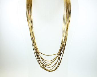 Mid Century Style (1933-1965) Sterling Silver Marcasite Multistrand Gold Beaded Necklace