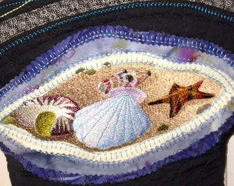 Embroidered seashell bag one of a kind