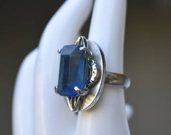 Whiting and Davis Co. Blue Glass Stone Ring Vintage