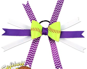 Softball Hair Bow - Purple White Chevrons