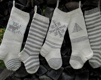 """Knit Christmas Stockings 21-22"""" Personalized Hand knit Wool Nordic style White with Light Gray Snowflake Tree Deer Stripes ornaments"""