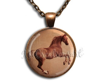 Whistlejacket Painting Horse Glass Dome Pendant or with Chain Link Necklace AP117