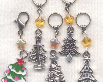 Christmas Tree Knitting Stitch Markers Xmas Christmas Trees Set of 5/SM138
