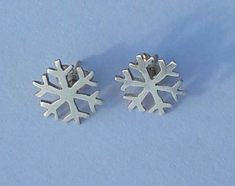 Little Snowflake Silver Stud Earrings; Handmade Sterling Silver