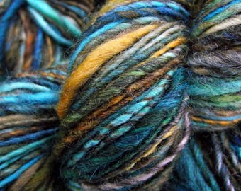 Handspun yarn, handpainted BFL Wool , handmade worsted bulky thick and thin, gorgeous Opera colorway-Magic Flute