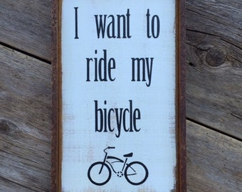Signs and Sayings, Wood Signs, Bicycle, Bike Decor, Cycling, Hand Painted Signs, Bicycle Stencil, Wall Decor, Home Decor, Rustic, Home, Sign