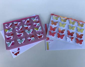 Set of 2--3D Butterfly Cards. Happy Birthday. Birthday. Blank. Butterflies.Pink. Rainbow. Greeting Card.(1Birthday and 1Blank)