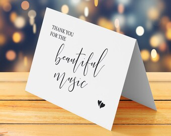 Thank you for the beautiful music, Wedding thank you card printable, Wedding DJ card, Wedding band, vocalist, musician, choir thank you card