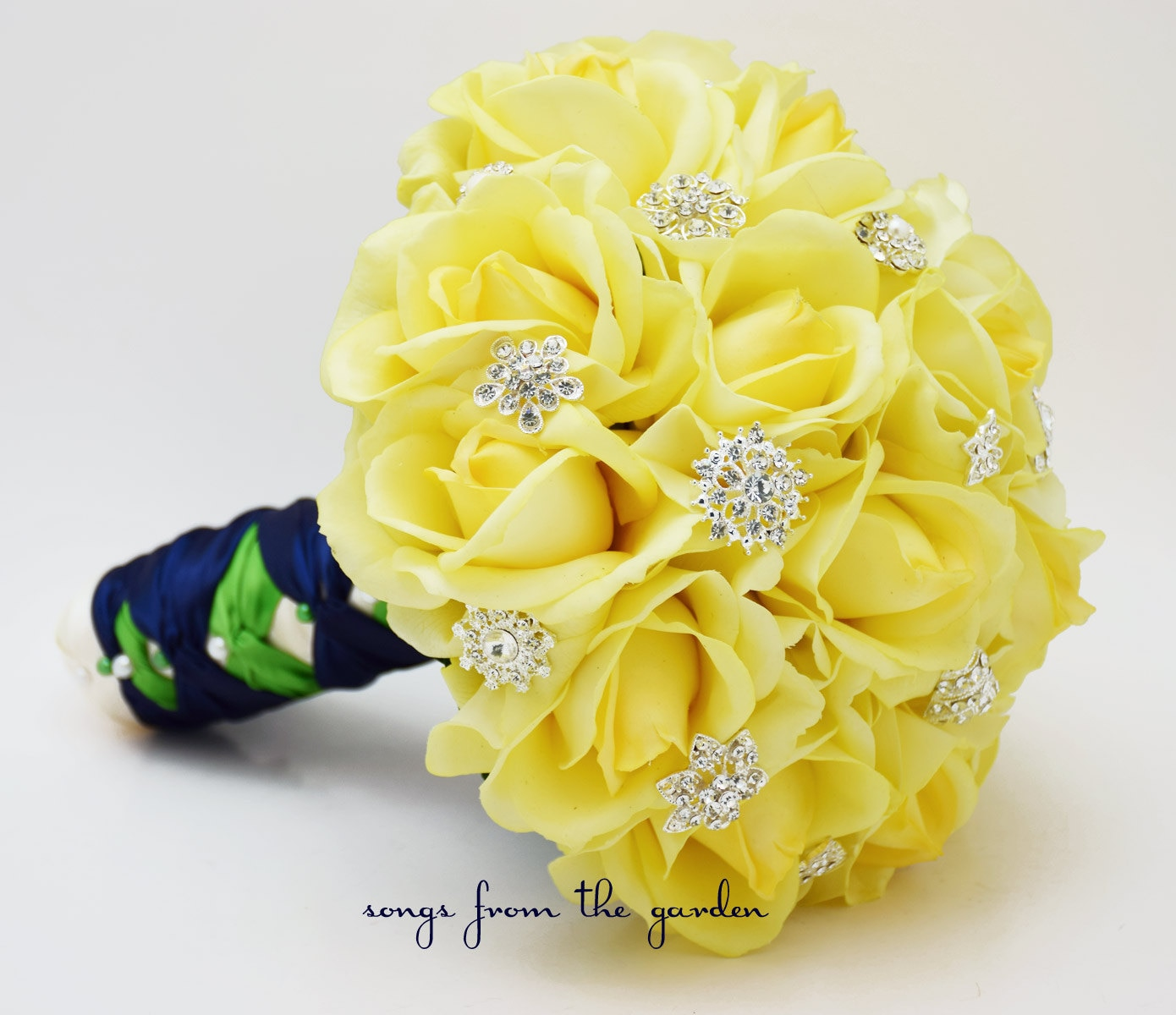 Yellow Roses & Rhinestones Bridal Bouquet Real Touch Bridal
