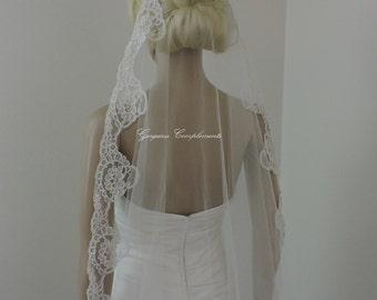 Wedding Mantilla Off White or Light Ivory Alencon Lace Trim, Bridal Veil