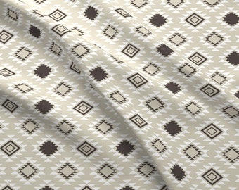 Tan Southwestern Aztec Fabric - Slate Aztec By Mrshervi - Aztec Cotton Fabric By The Yard With Spoonflower