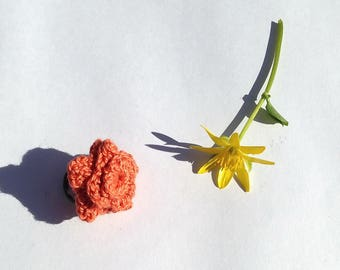 Crocheted orange flower Adjustable ring